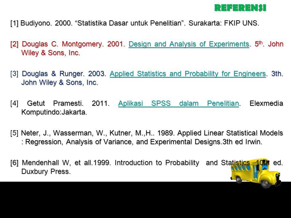 REFERENSI [1] Budiyono. 2000. Statistika Dasar untuk Penelitian .