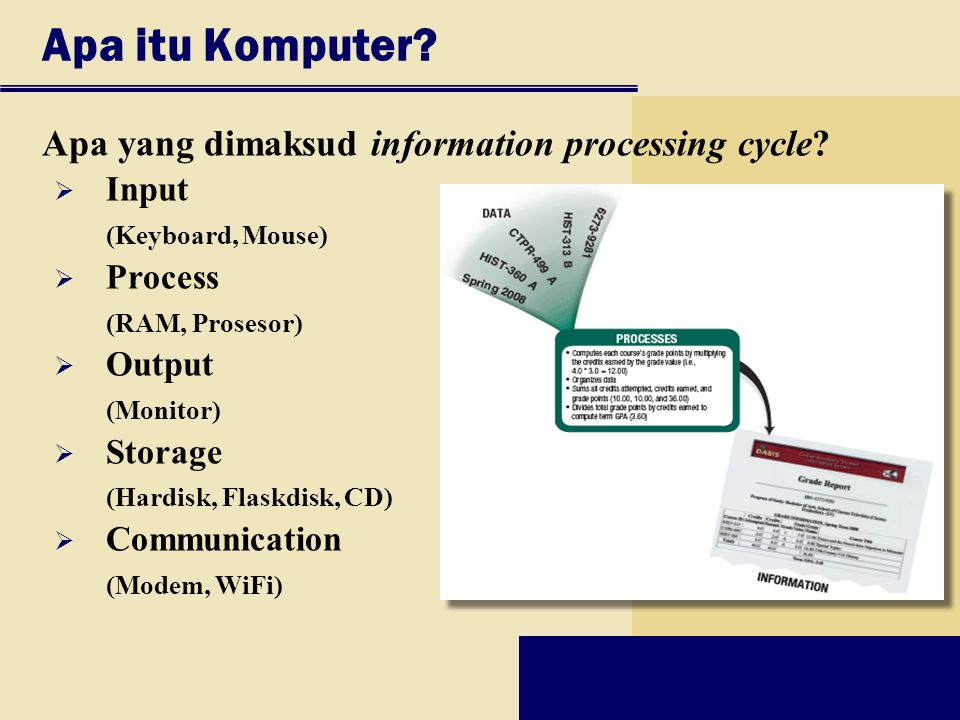 Apa itu Komputer? Apa yang dimaksud information processing cycle?  Input (Keyboard, Mouse)  Process (RAM, Prosesor)  Output (Monitor)  Storage (Ha