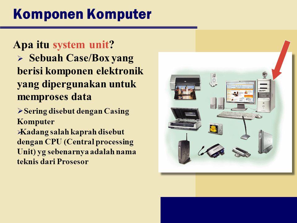 Komponen Komputer Apa itu system unit?  Sebuah Case/Box yang berisi komponen elektronik yang dipergunakan untuk memproses data  Sering disebut denga