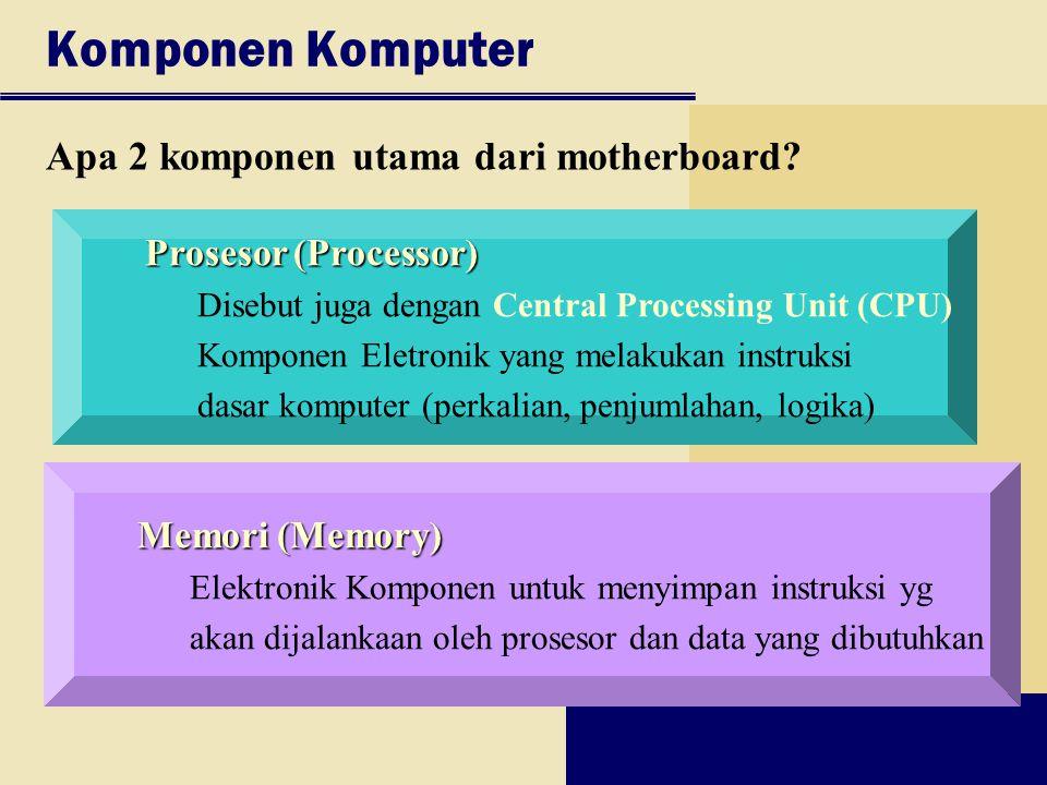 Komponen Komputer Apa 2 komponen utama dari motherboard? Prosesor (Processor) Disebut juga dengan Central Processing Unit (CPU) Komponen Eletronik yan