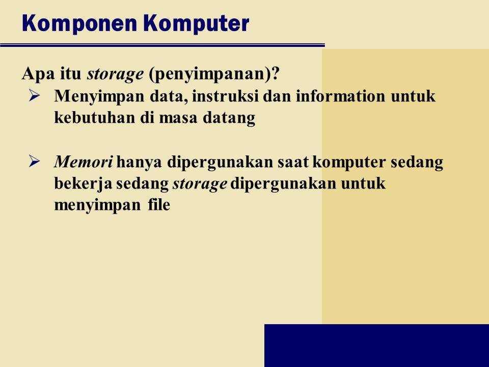 Komponen Komputer Apa itu storage (penyimpanan)?  Menyimpan data, instruksi dan information untuk kebutuhan di masa datang  Memori hanya dipergunaka