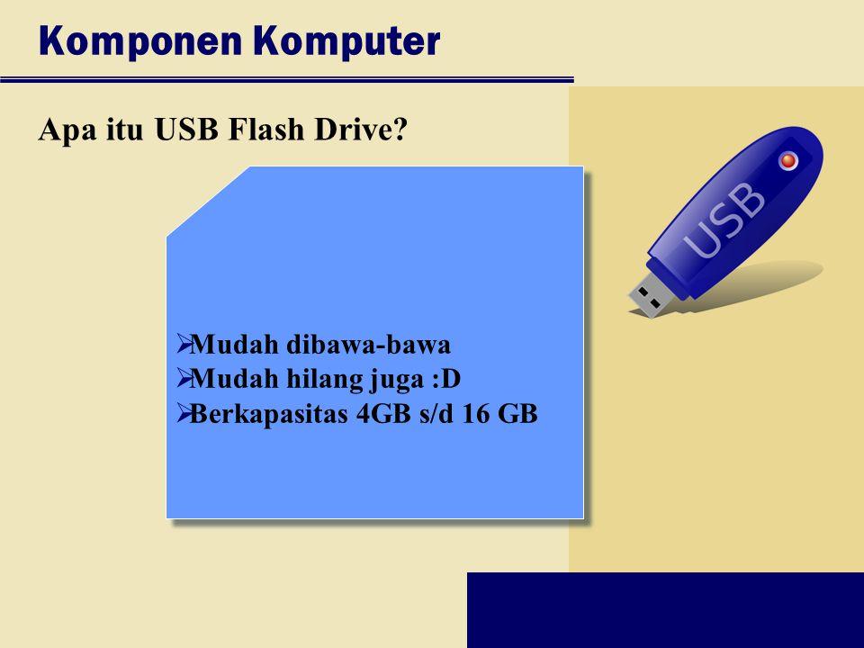 Komponen Komputer Apa itu USB Flash Drive?  Mudah dibawa-bawa  Mudah hilang juga :D  Berkapasitas 4GB s/d 16 GB  Mudah dibawa-bawa  Mudah hilang