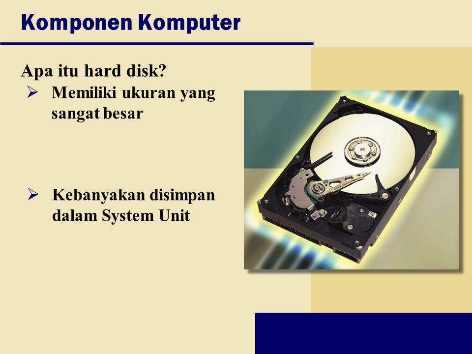 Komponen Komputer Apa itu hard disk?  Memiliki ukuran yang sangat besar  Kebanyakan disimpan dalam System Unit
