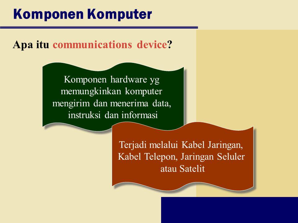 Komponen Komputer Apa itu communications device? Komponen hardware yg memungkinkan komputer mengirim dan menerima data, instruksi dan informasi Kompon