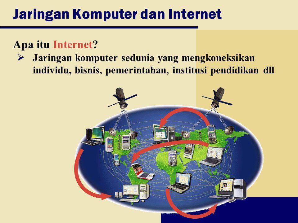 Jaringan Komputer dan Internet Apa itu Internet?  Jaringan komputer sedunia yang mengkoneksikan individu, bisnis, pemerintahan, institusi pendidikan