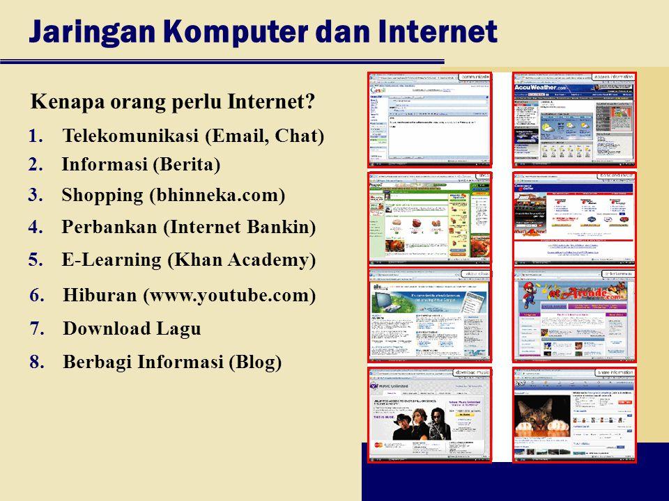 Jaringan Komputer dan Internet Kenapa orang perlu Internet? 2.Informasi (Berita) 3.Shopping (bhinneka.com) 4.Perbankan (Internet Bankin) 5.E-Learning