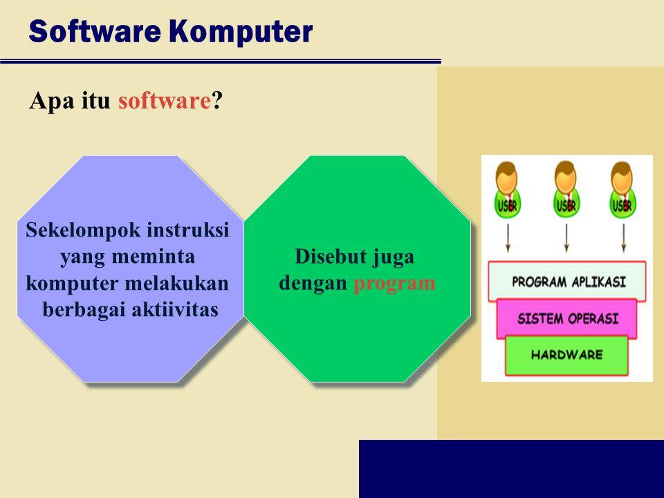 Sekelompok instruksi yang meminta komputer melakukan berbagai aktiivitas Sekelompok instruksi yang meminta komputer melakukan berbagai aktiivitas Soft