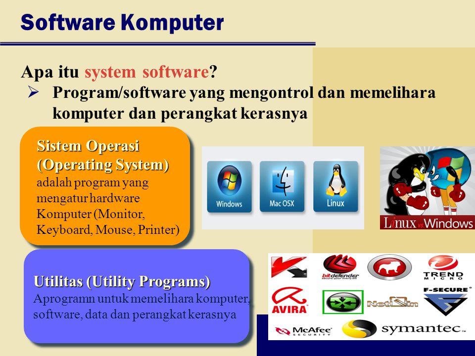 Software Komputer Apa itu system software? Sistem Operasi (Operating System) (Operating System) adalah program yang mengatur hardware Komputer (Monito