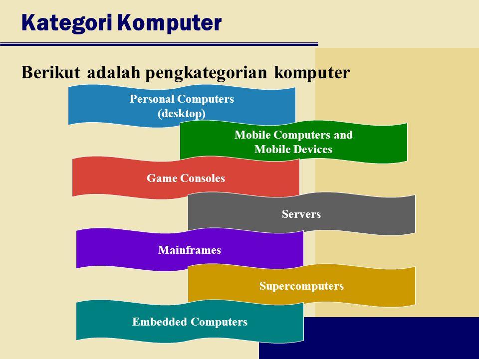Kategori Komputer Berikut adalah pengkategorian komputer Personal Computers (desktop) Mobile Computers and Mobile Devices Game Consoles Servers Mainframes Supercomputers Embedded Computers