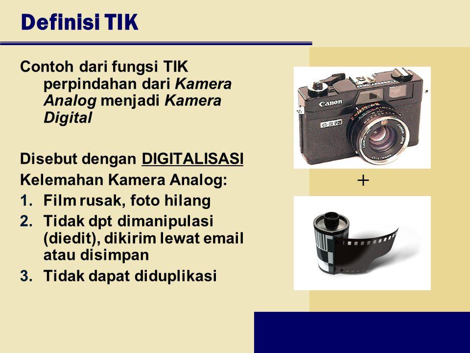Definisi TIK Contoh dari fungsi TIK perpindahan dari Kamera Analog menjadi Kamera Digital Disebut dengan DIGITALISASI Kelemahan Kamera Analog: 1.Film