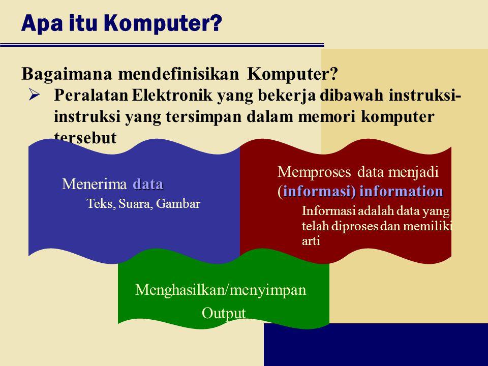 Bagaimana mendefinisikan Komputer? Apa itu Komputer? Menghasilkan/menyimpan Output  Peralatan Elektronik yang bekerja dibawah instruksi- instruksi ya