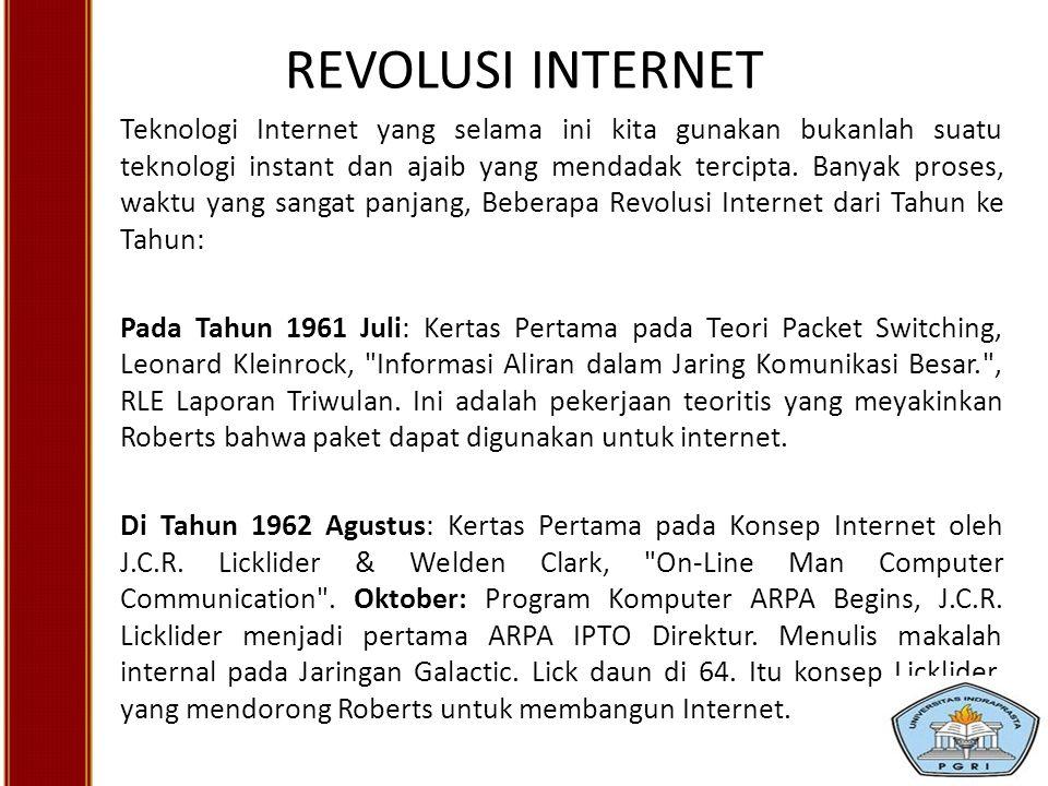 REVOLUSI INTERNET Teknologi Internet yang selama ini kita gunakan bukanlah suatu teknologi instant dan ajaib yang mendadak tercipta. Banyak proses, wa