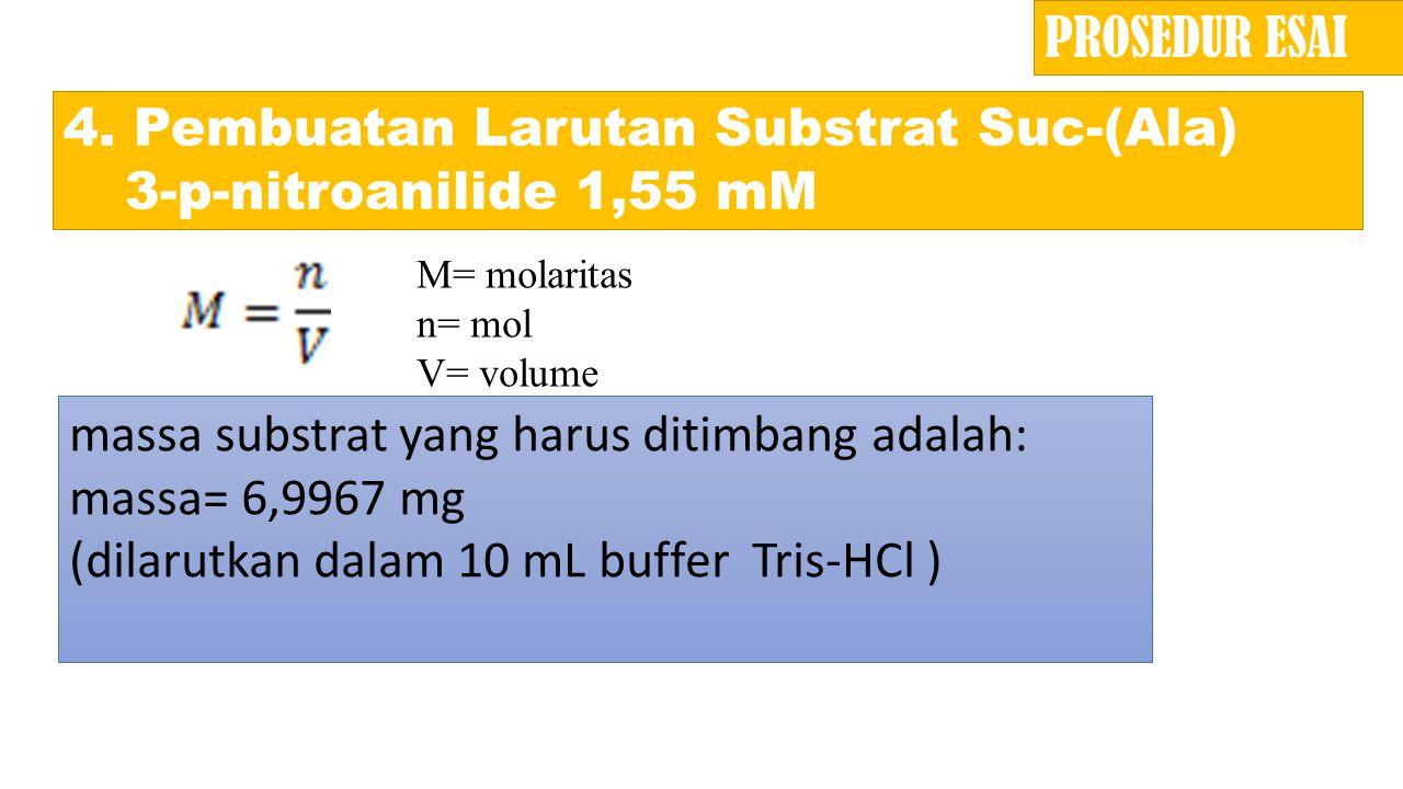 4. Pembuatan Larutan Substrat Suc-(Ala) 3-p-nitroanilide 1,55 mM massa substrat yang harus ditimbang adalah: massa= 6,9967 mg (dilarutkan dalam 10 mL