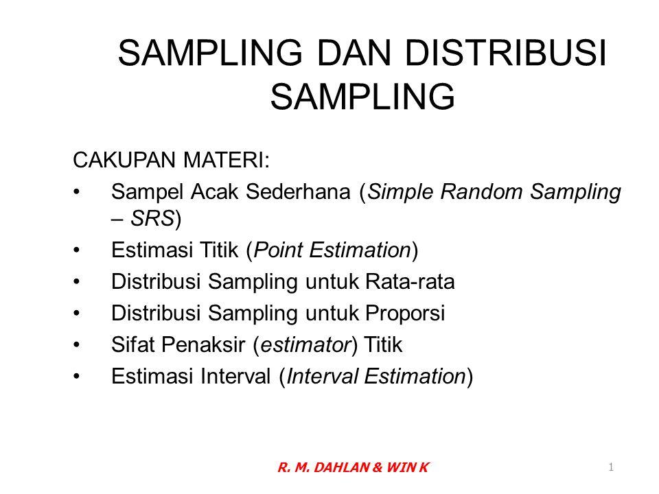 SAMPLING DAN DISTRIBUSI SAMPLING CAKUPAN MATERI: Sampel Acak Sederhana (Simple Random Sampling – SRS) Estimasi Titik (Point Estimation) Distribusi Sam