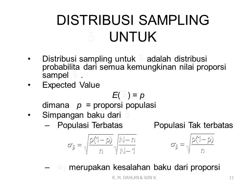 DISTRIBUSI SAMPLING UNTUK Distribusi sampling untuk adalah distribusi probabilita dari semua kemungkinan nilai proporsi sampel. Expected Value E( ) =