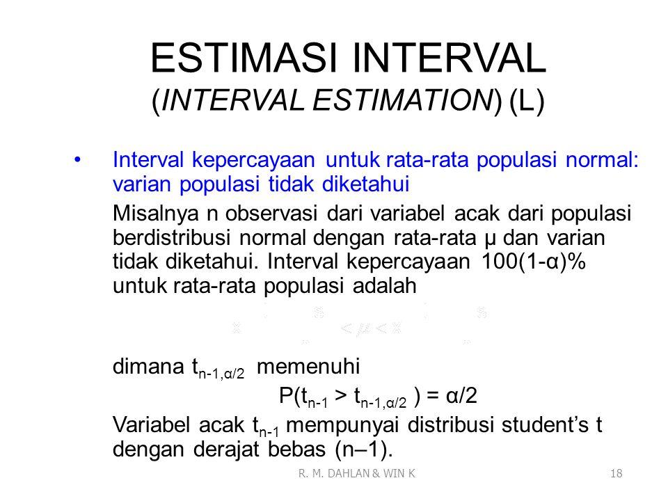 ESTIMASI INTERVAL (INTERVAL ESTIMATION) (L) Interval kepercayaan untuk rata-rata populasi normal: varian populasi tidak diketahui Misalnya n observasi