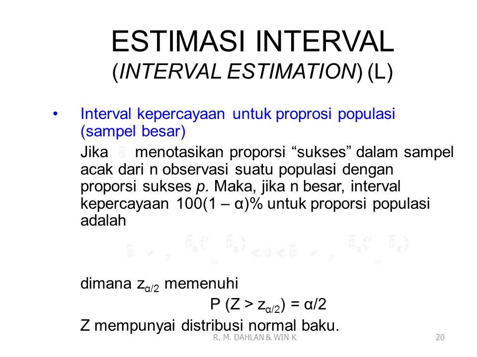 """ESTIMASI INTERVAL (INTERVAL ESTIMATION) (L) Interval kepercayaan untuk proprosi populasi (sampel besar) Jika menotasikan proporsi """"sukses"""" dalam sampe"""