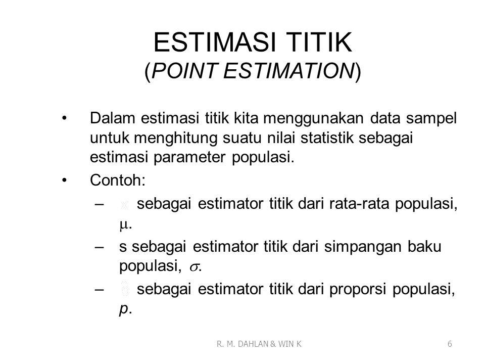ESTIMASI TITIK (POINT ESTIMATION) Dalam estimasi titik kita menggunakan data sampel untuk menghitung suatu nilai statistik sebagai estimasi parameter