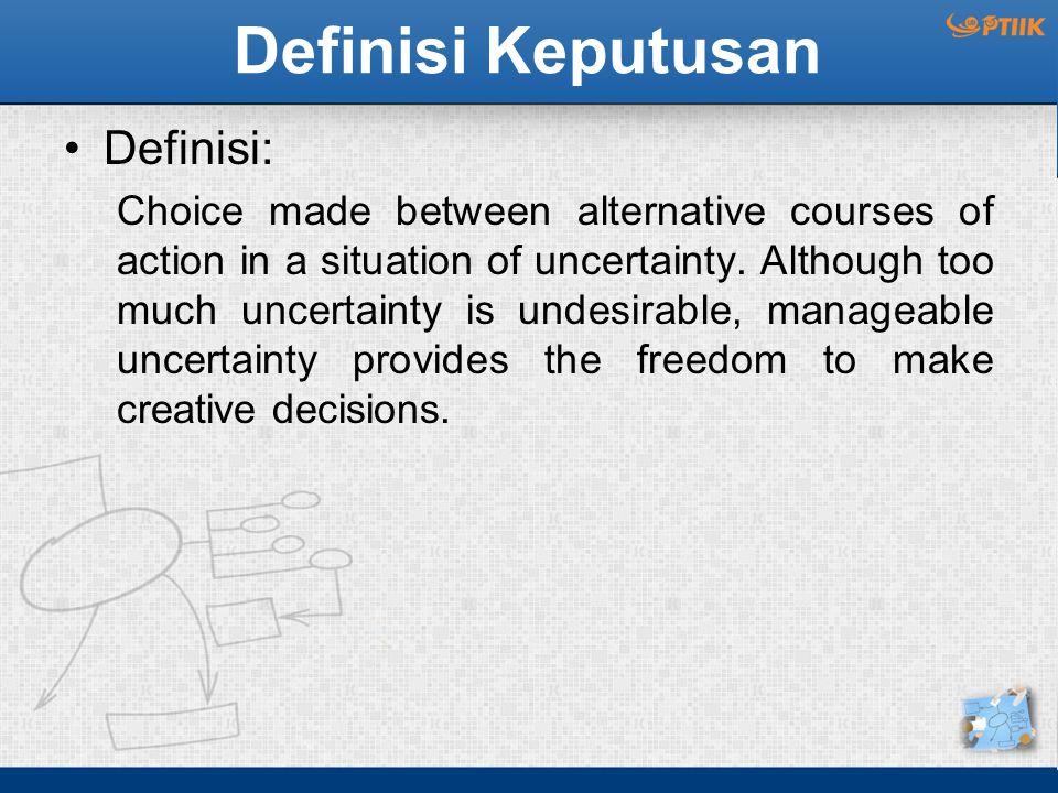 Pengambilan Keputusan Teori : Suatu kegiatan untuk memberikan pedoman kepada orang atau organisasi dalam mengambil keputusan, sekaligus memperbaiki proses pengambilan keputusan dalam kondisi tidak pasti.