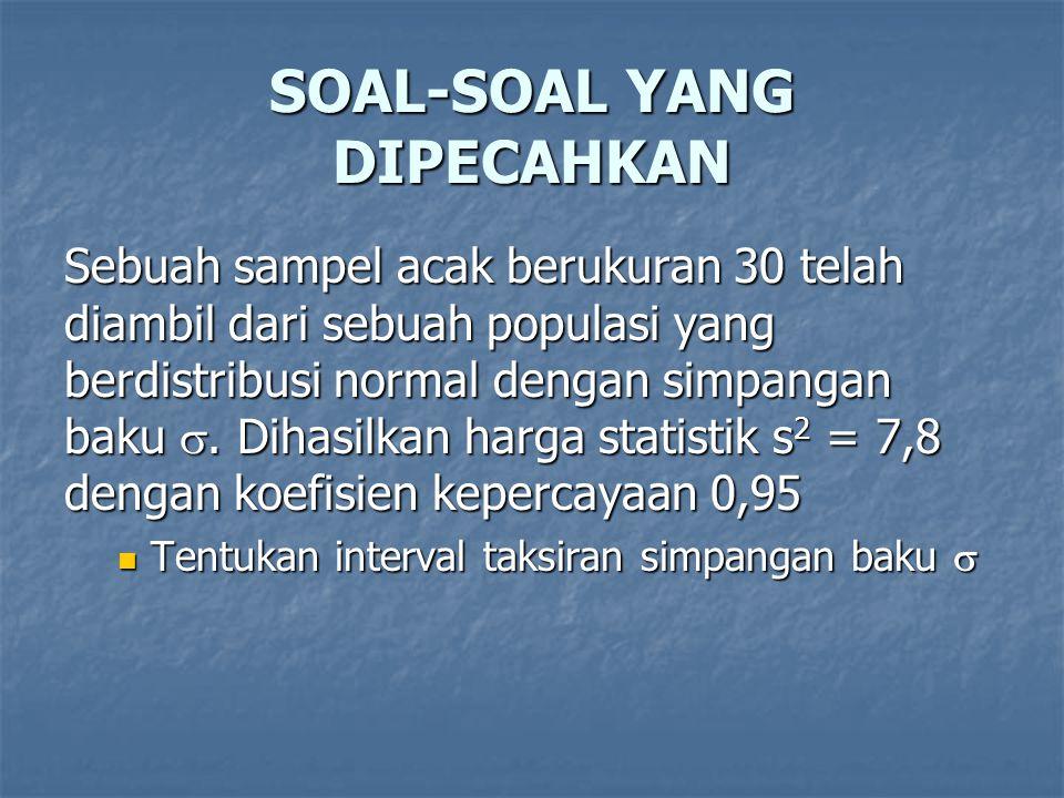SOAL-SOAL YANG DIPECAHKAN Sebuah sampel acak berukuran 30 telah diambil dari sebuah populasi yang berdistribusi normal dengan simpangan baku . Dihasi