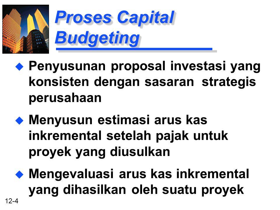 12-4 Proses Capital Budgeting u Penyusunan proposal investasi yang konsisten dengan sasaran strategis perusahaan u Menyusun estimasi arus kas inkremen