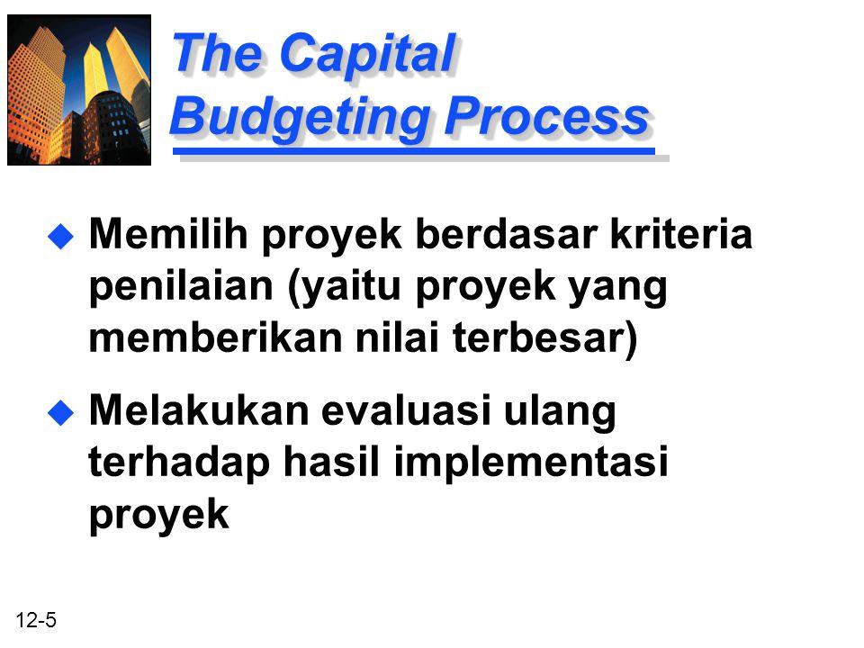 12-5 The Capital Budgeting Process u Memilih proyek berdasar kriteria penilaian (yaitu proyek yang memberikan nilai terbesar) u Melakukan evaluasi ula