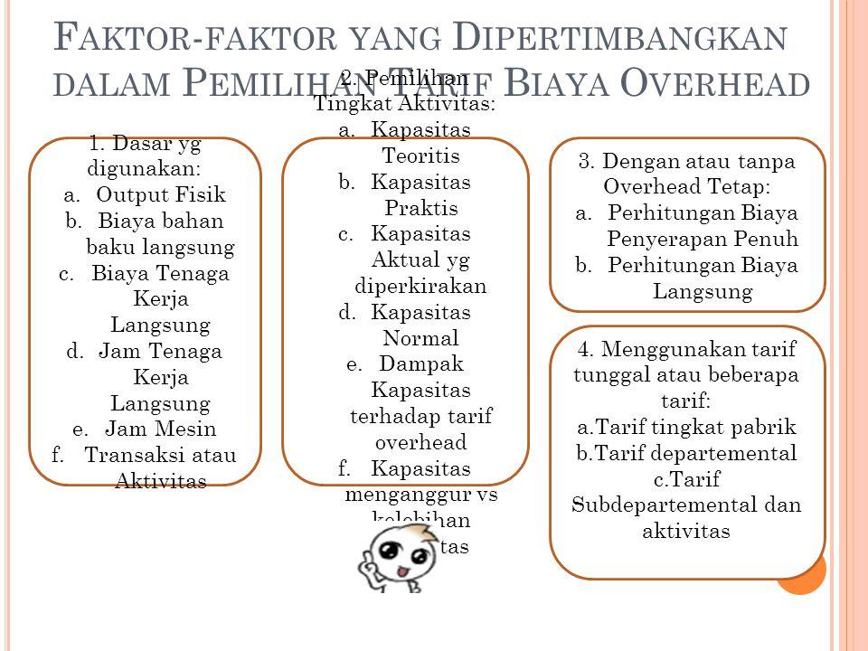 F AKTOR - FAKTOR YANG D IPERTIMBANGKAN DALAM P EMILIHAN T ARIF B IAYA O VERHEAD 1.