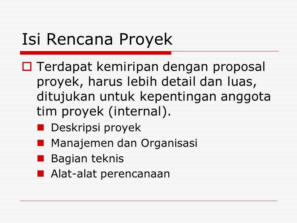 Isi Rencana Proyek  Terdapat kemiripan dengan proposal proyek, harus lebih detail dan luas, ditujukan untuk kepentingan anggota tim proyek (internal)