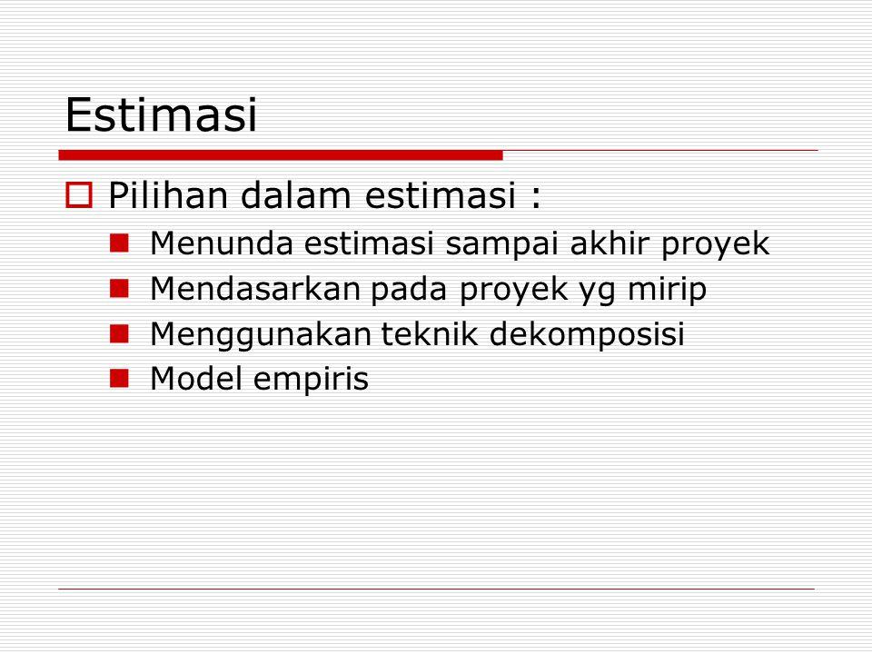 Estimasi  Pilihan dalam estimasi : Menunda estimasi sampai akhir proyek Mendasarkan pada proyek yg mirip Menggunakan teknik dekomposisi Model empiris