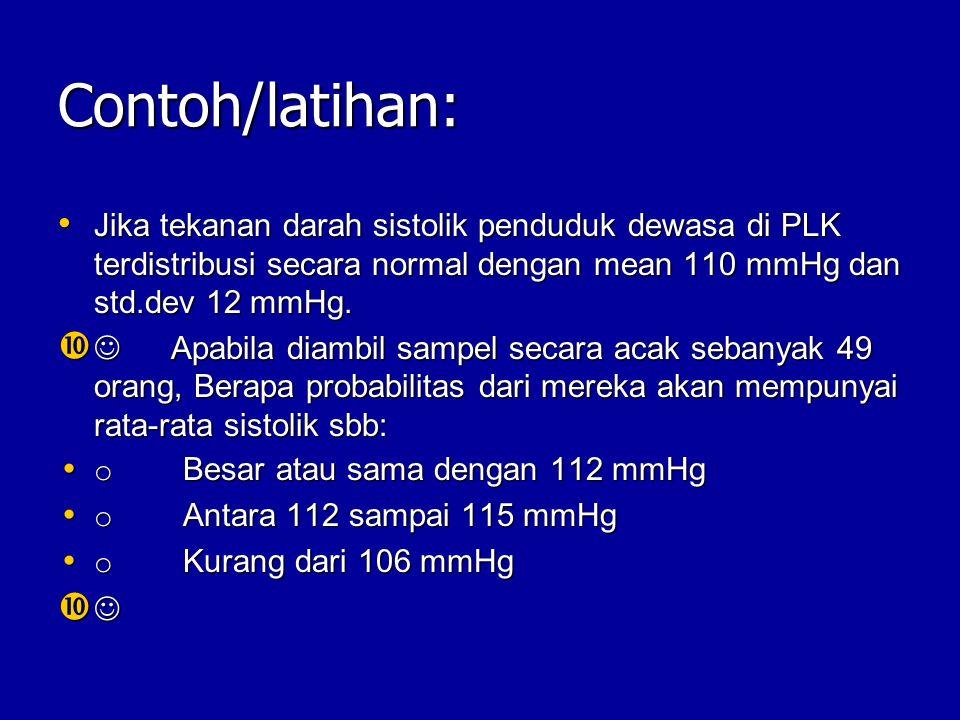 Contoh/latihan: Jika tekanan darah sistolik penduduk dewasa di PLK terdistribusi secara normal dengan mean 110 mmHg dan std.dev 12 mmHg.
