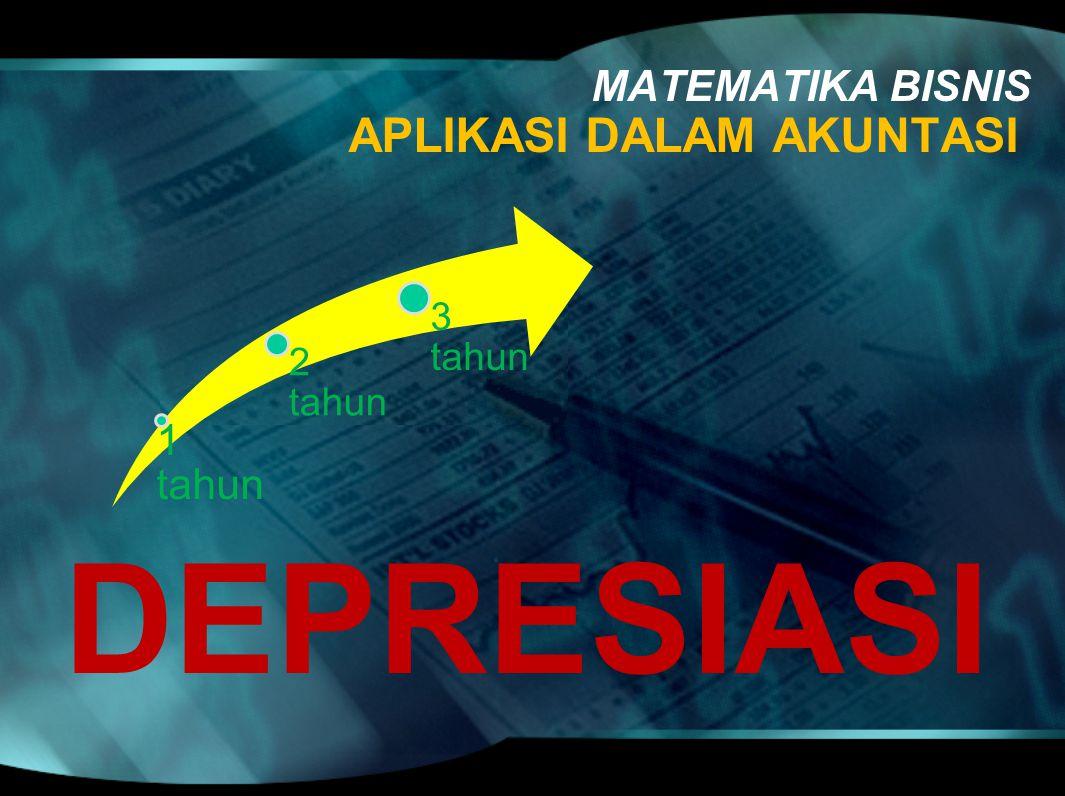 APLIKASI DALAM AKUNTASI MATEMATIKA BISNIS DEPRESIASI 1 tahun 2 tahun 3 tahun