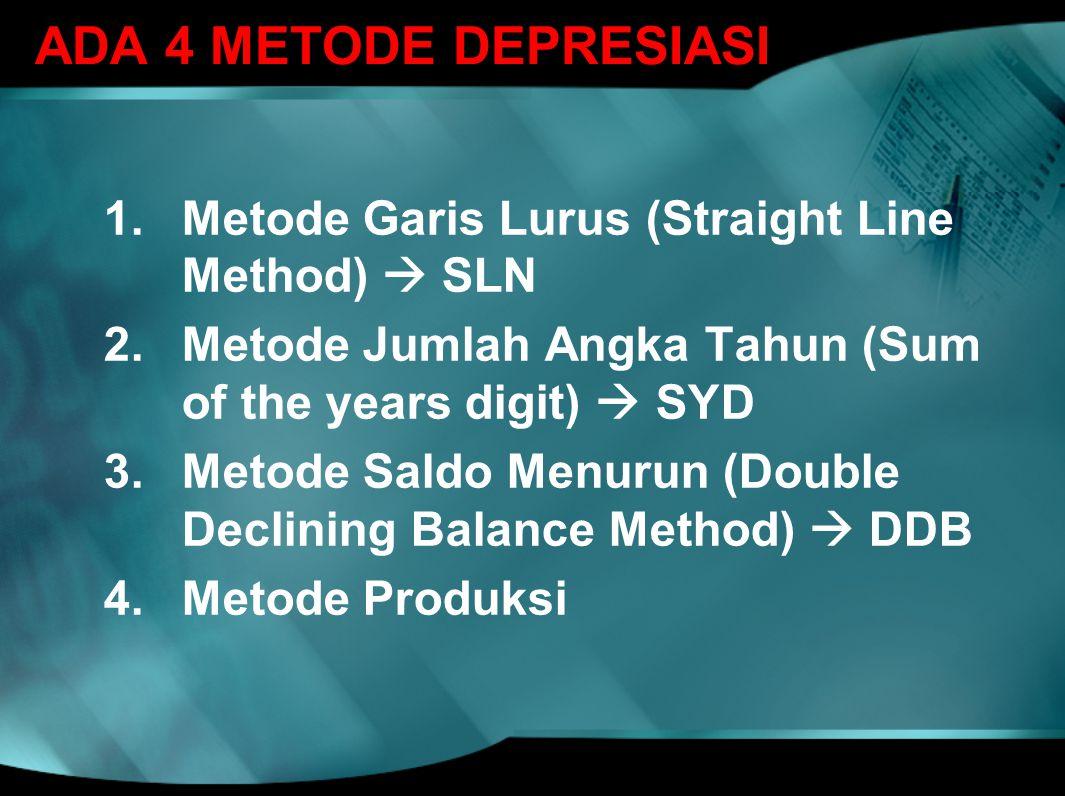 ADA 4 METODE DEPRESIASI 1.Metode Garis Lurus (Straight Line Method)  SLN 2.Metode Jumlah Angka Tahun (Sum of the years digit)  SYD 3.Metode Saldo Me