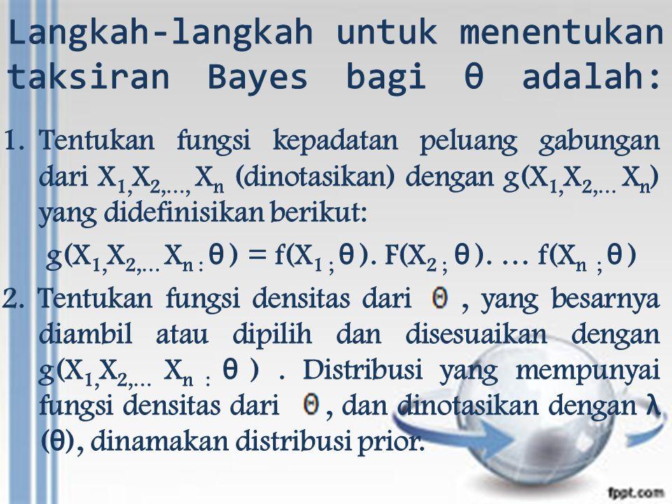 3.Penaksir Bayes untuk θ ditentukan oleh: a.