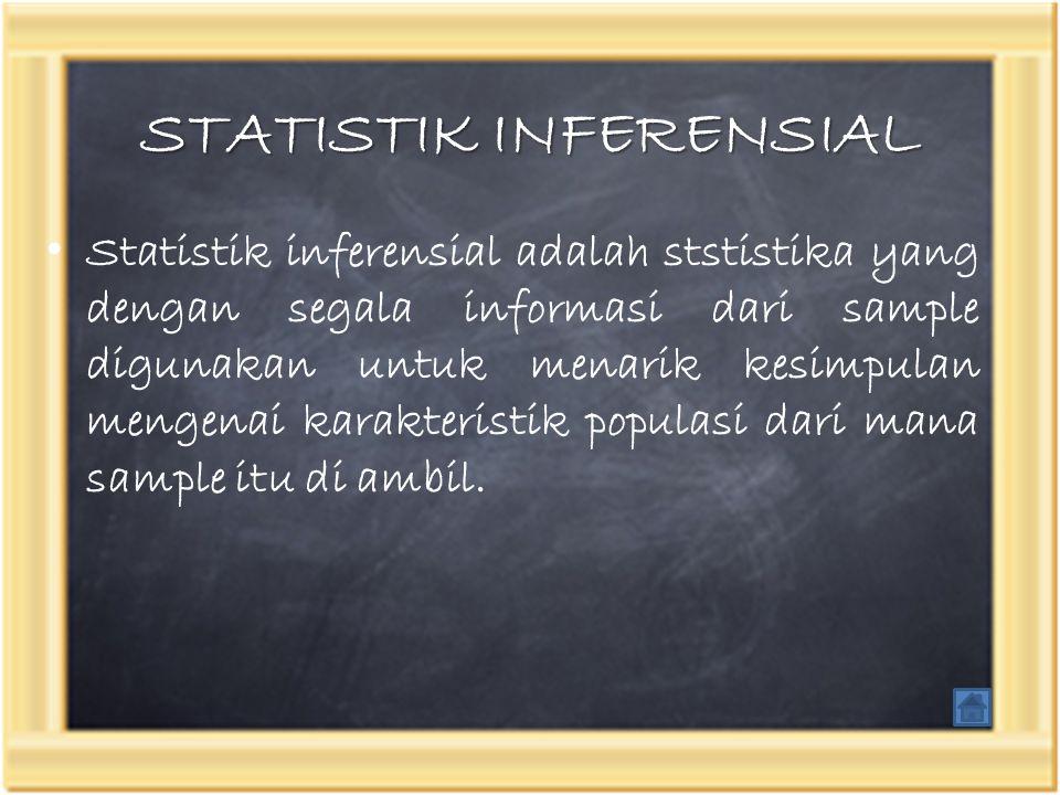 STATISTIK INFERENSIAL Statistik inferensial adalah ststistika yang dengan segala informasi dari sample digunakan untuk menarik kesimpulan mengenai kar