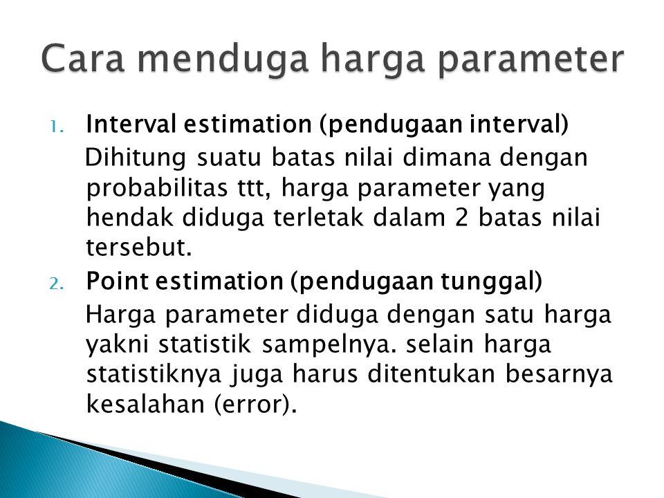 1. Interval estimation (pendugaan interval) Dihitung suatu batas nilai dimana dengan probabilitas ttt, harga parameter yang hendak diduga terletak dal