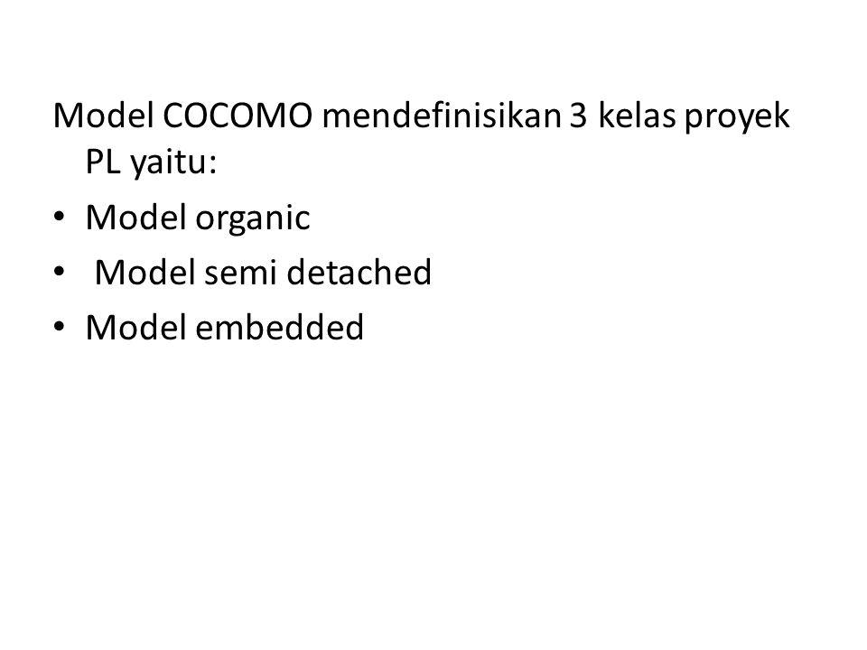 Model COCOMO mendefinisikan 3 kelas proyek PL yaitu: Model organic Model semi detached Model embedded