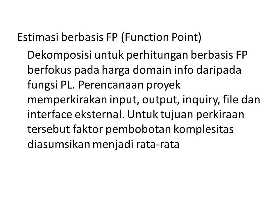 Estimasi berbasis FP (Function Point) Dekomposisi untuk perhitungan berbasis FP berfokus pada harga domain info daripada fungsi PL. Perencanaan proyek