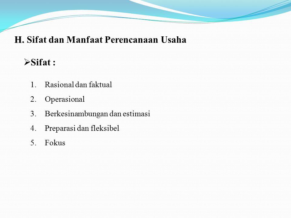 H. H. Sifat dan Manfaat Perencanaan Usaha 1.Rasional dan faktual 2.Operasional 3.Berkesinambungan dan estimasi 4.Preparasi dan fleksibel 5.Fokus  Sif