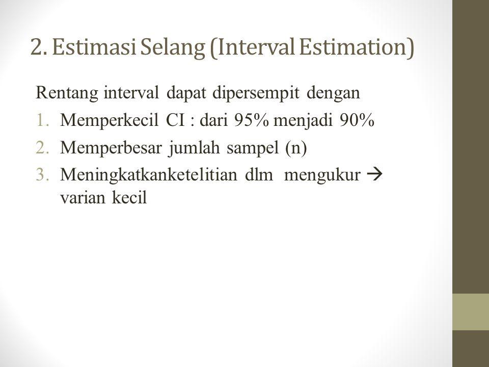 2. Estimasi Selang (Interval Estimation) Rentang interval dapat dipersempit dengan 1.Memperkecil CI : dari 95% menjadi 90% 2.Memperbesar jumlah sampel