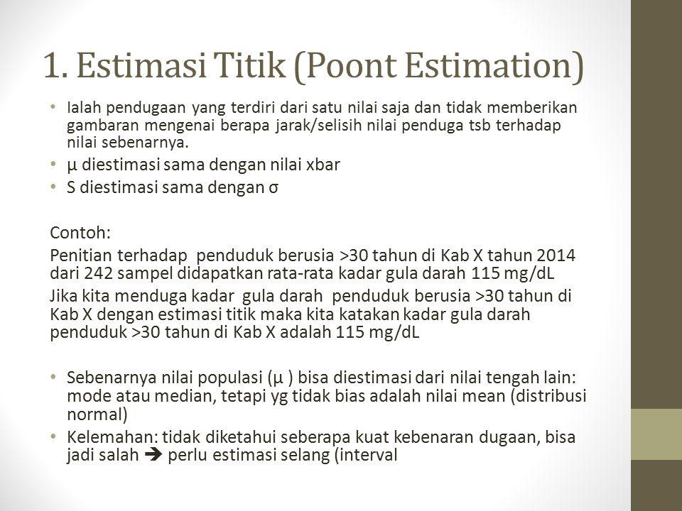 1. Estimasi Titik (Poont Estimation) Ialah pendugaan yang terdiri dari satu nilai saja dan tidak memberikan gambaran mengenai berapa jarak/selisih nil