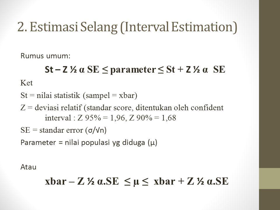 2. Estimasi Selang (Interval Estimation) Rumus umum: St – Z ½ α SE ≤ parameter ≤ St + Z ½ α SE Ket St = nilai statistik (sampel = xbar) Z = deviasi re