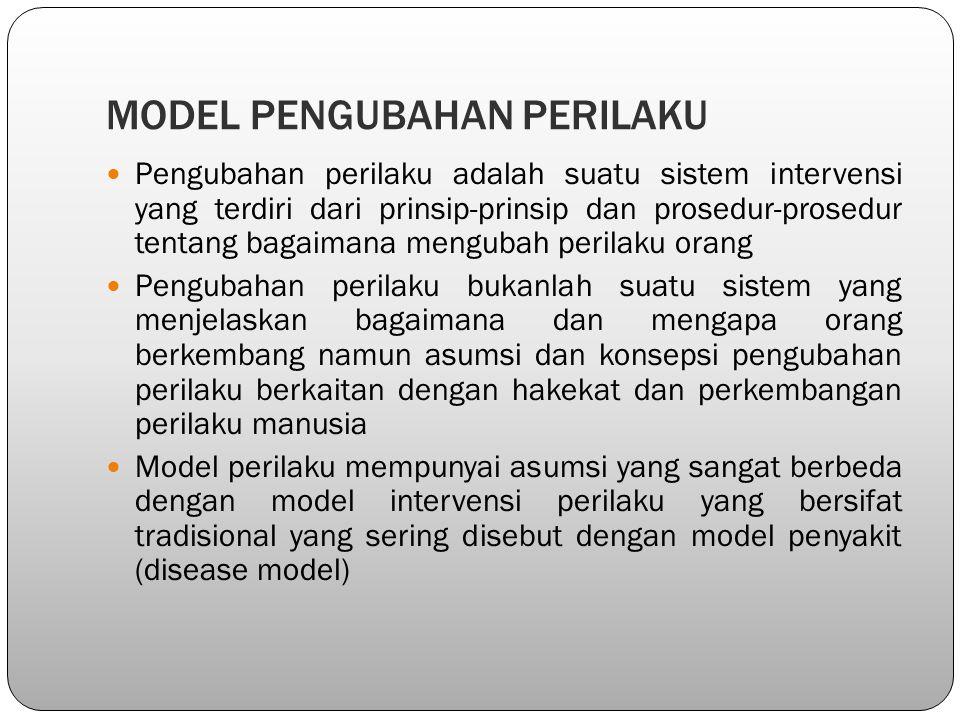 MODEL PENGUBAHAN PERILAKU Pengubahan perilaku adalah suatu sistem intervensi yang terdiri dari prinsip-prinsip dan prosedur-prosedur tentang bagaimana