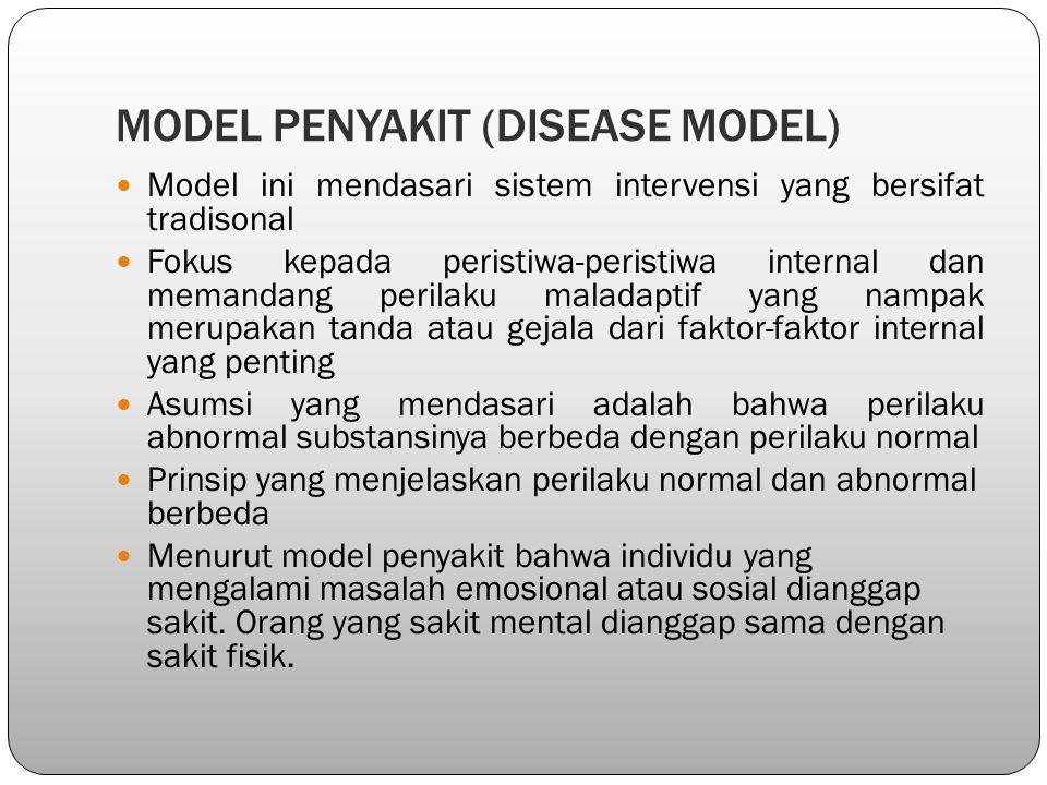 MODEL PENYAKIT (DISEASE MODEL) Model ini mendasari sistem intervensi yang bersifat tradisonal Fokus kepada peristiwa-peristiwa internal dan memandang