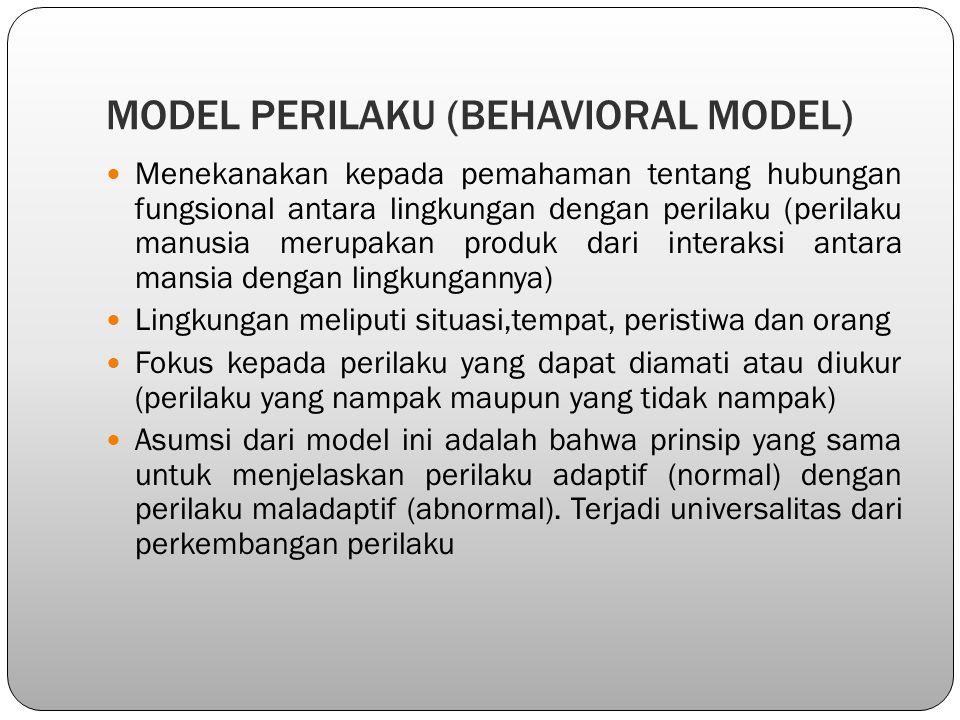 MODEL PERILAKU (BEHAVIORAL MODEL) Menekanakan kepada pemahaman tentang hubungan fungsional antara lingkungan dengan perilaku (perilaku manusia merupak