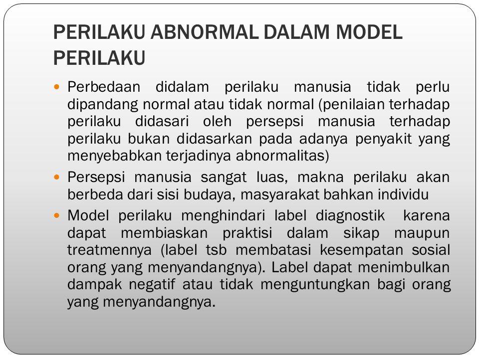 PERILAKU ABNORMAL DALAM MODEL PERILAKU Perbedaan didalam perilaku manusia tidak perlu dipandang normal atau tidak normal (penilaian terhadap perilaku