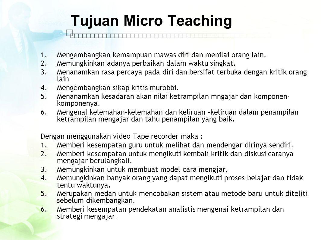 Materi Kegiatan Micro Teaching 1.Ketrampilan membuka pelajaran 2.Keteampilan memberi motivasi 3.Ketrampilan bertanya 4.Ketrampilan menerangkan 5.Ketrampilan mendayagunakan media 6.Ketrampilan menggunakan metode yang tepat 7.Ketrampilan mengadakan interaksi 8.Ketrampilan penampilan verbal dan non verbal 9.Ketrampilan penjajagan/assesment.