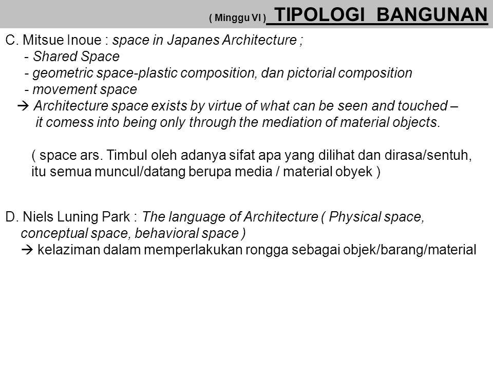 ( Minggu VI ) TIPOLOGI BANGUNAN C. Mitsue Inoue : space in Japanes Architecture ; - Shared Space - geometric space-plastic composition, dan pictorial