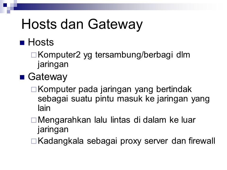 Hosts dan Gateway Hosts  Komputer2 yg tersambung/berbagi dlm jaringan Gateway  Komputer pada jaringan yang bertindak sebagai suatu pintu masuk ke ja