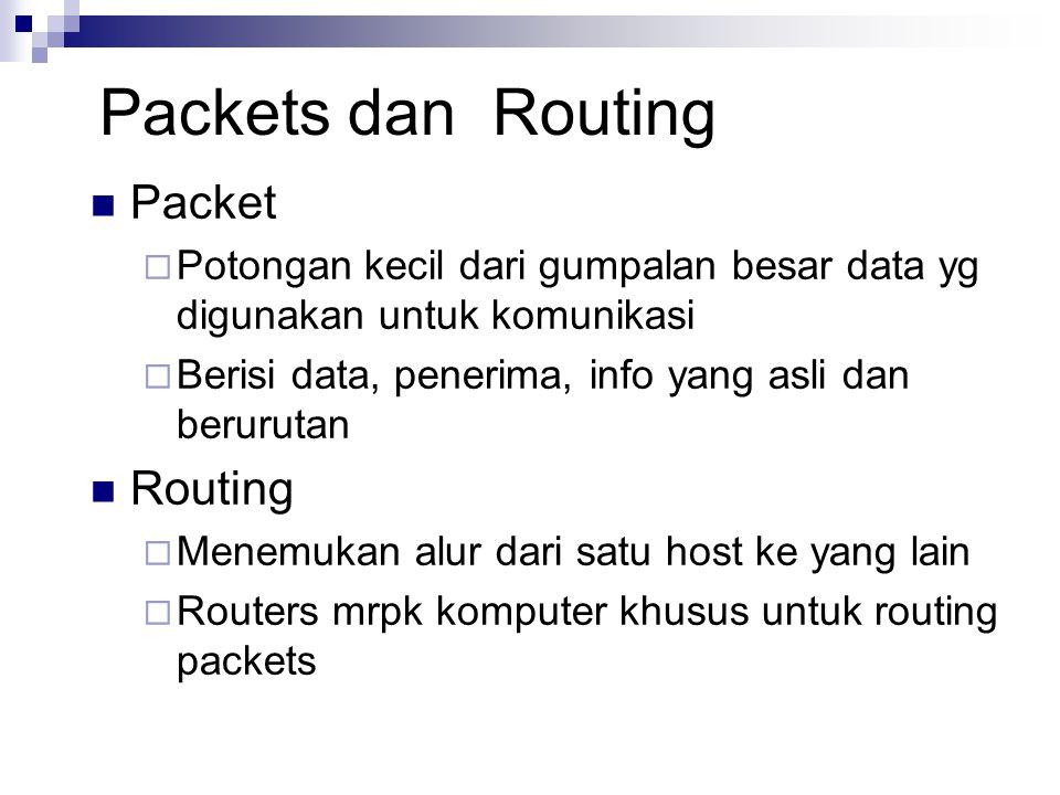 Packets dan Routing Packet  Potongan kecil dari gumpalan besar data yg digunakan untuk komunikasi  Berisi data, penerima, info yang asli dan berurut