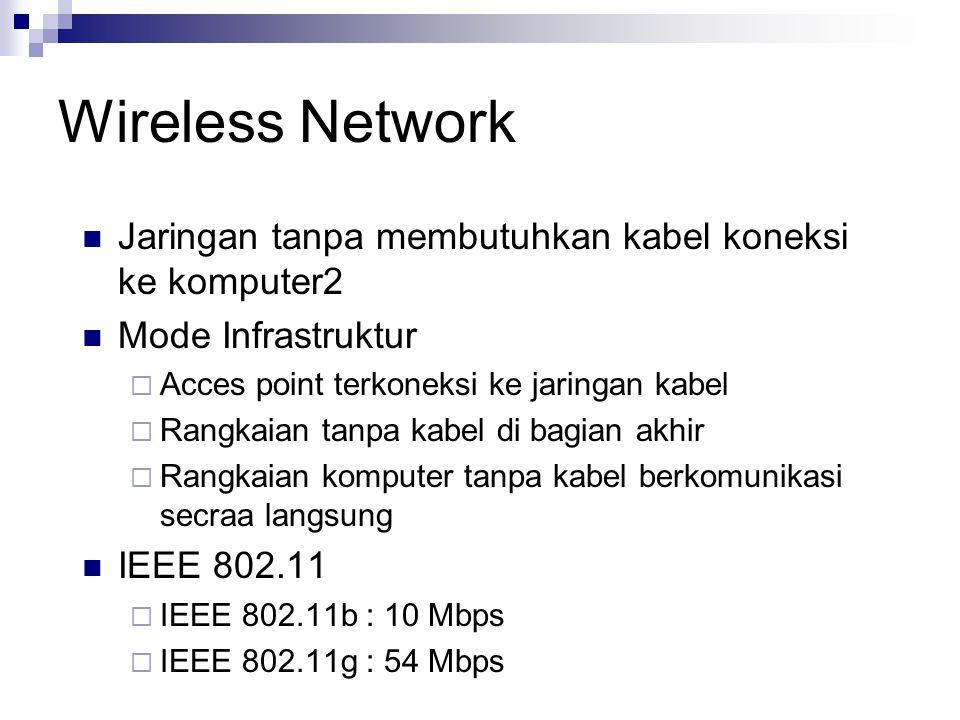 Wireless Network Jaringan tanpa membutuhkan kabel koneksi ke komputer2 Mode Infrastruktur  Acces point terkoneksi ke jaringan kabel  Rangkaian tanpa